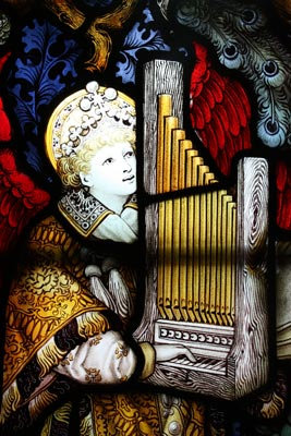 Detail from stained glass in St Chad's Head Chapel